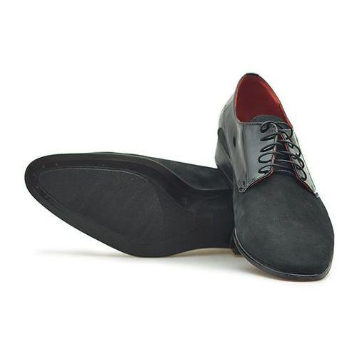 Pantofle męskie 066 czarne nubuk + lakier, Duo men
