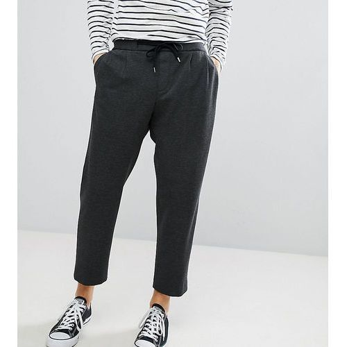 Noak Wide Leg Cropped Jersey Trouser In Charcoal - Grey, kolor szary