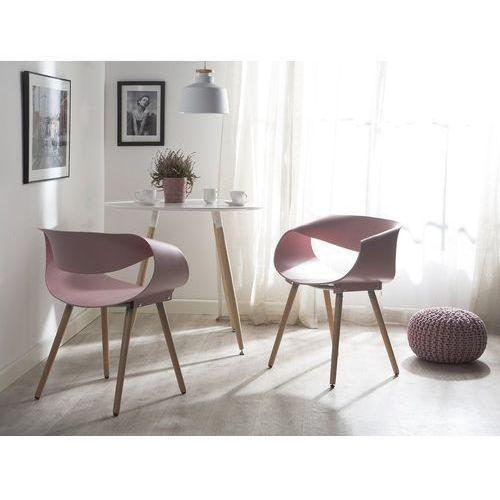 Zestaw do jadalni 2 krzesła jasnoróżowe CHARLOTTE, kolor różowy