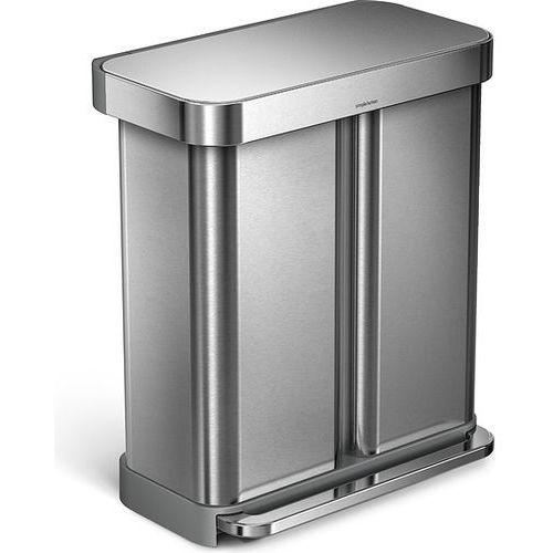 Kosz na śmieci pedałowy Liner Pocket Recycler 58 l stal FPP, kolor stalowy