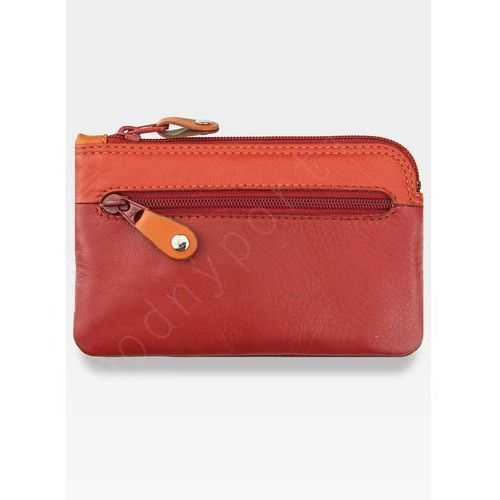 Skórzane damskie etui na klucze  - czerwony multi marki Visconti