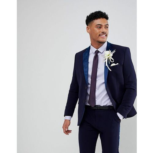 skinny fit suit jacket with velvet lapel in navy - navy marki Boohooman