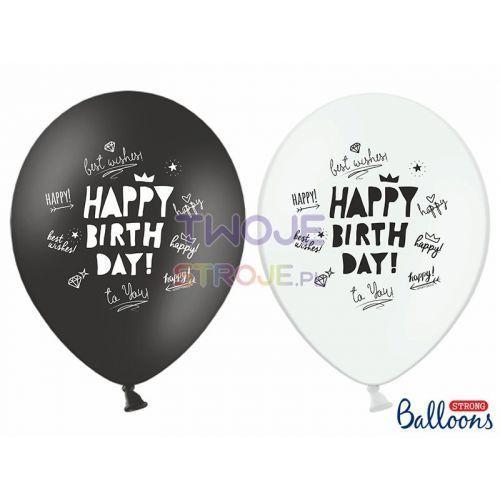 Twojestroje.pl Balon lateksowy happy b-day czarny/biały 30 cm 1 szt.