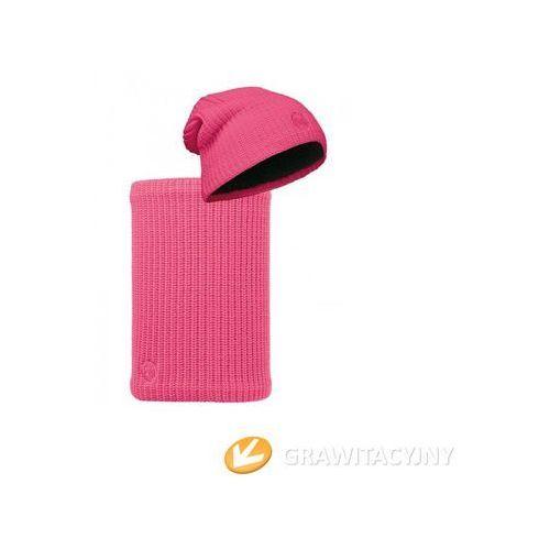 Zestaw Buff Knitted&Polar Buff Czapka Drip Pink Fluor + Komin Knitted&Polar Neckwarmer Buff Drip Pink Fluor - produkt z kategorii- Nakrycia głowy i czapki