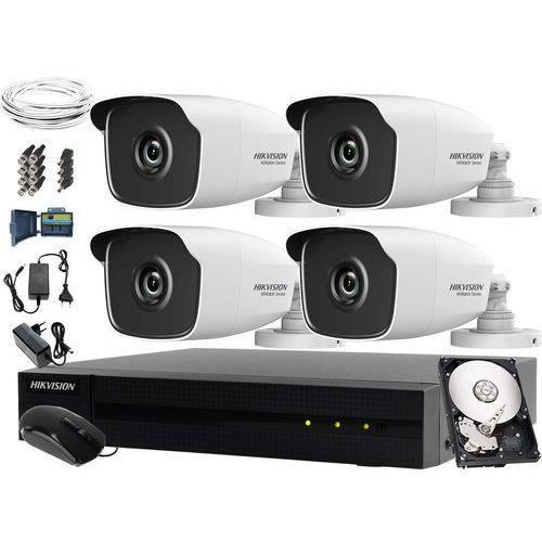 Hikvision hiwatch Kompletny zestaw do monitoringu firmy, placu, podwórka hwd-7104mh-g2, 4 x hwt-b240, 1tb, akcesoria