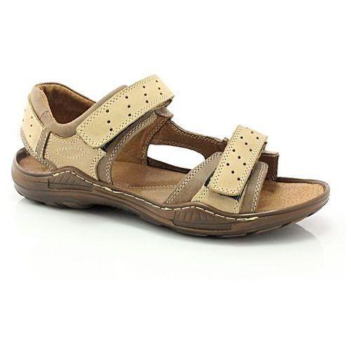 295 brązowy - męskie sandały skórzane - brązowy ||beżowy marki Kent
