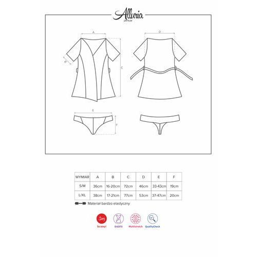 Obsessive Koronkowy szlafroczek – alluria peignoir & thong black s/m