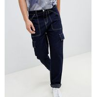 straight leg cargo trousers in dark navy with white stitching - navy, Noak