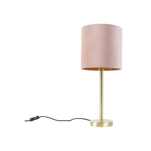 Lampa stołowa mosiądz klosz welurowy różowo-złoty 25cm - Simplo