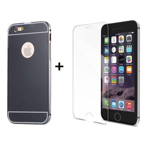 Mirror bumper / perfect glass Zestaw   mirror bumper metal case szary + szkło ochronne perfect glass   etui dla apple iphone 6 / 6s