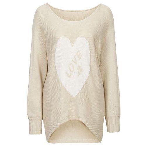 Sweter bonprix beżowo-biały, kolor beżowy