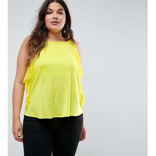 Asos curve  square neck cami in crepe with woven ruffle detail - yellow