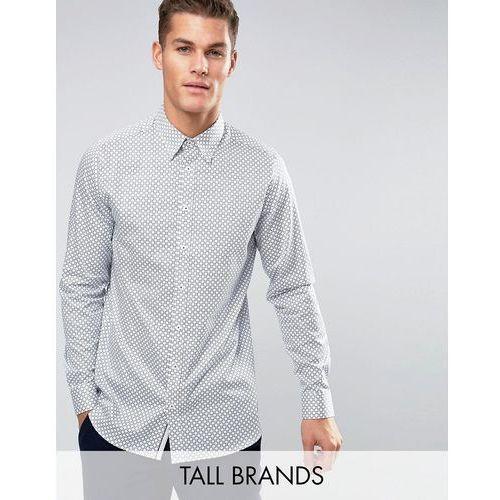 Ted Baker TALL Slim Smart Shirt in Geo Print - White