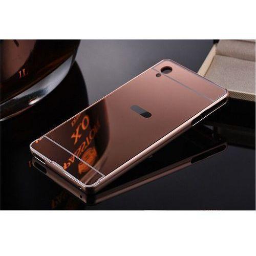 Mirror bumper  metal case różowa   etui dla sony xperia z5 compact - różowy