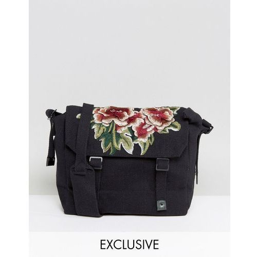 Reclaimed vintage  inspired messenger bag in black with floral patch - black
