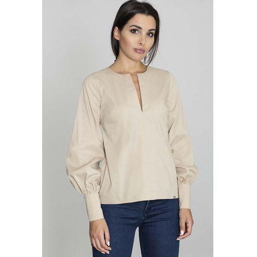 Beżowa Bluzka Koszulowa z Rozcięciem przy Dekolcie, kolor beżowy