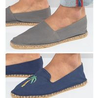 Asos 2 pack espadrilles in navy and grey with palm tree print save - multi