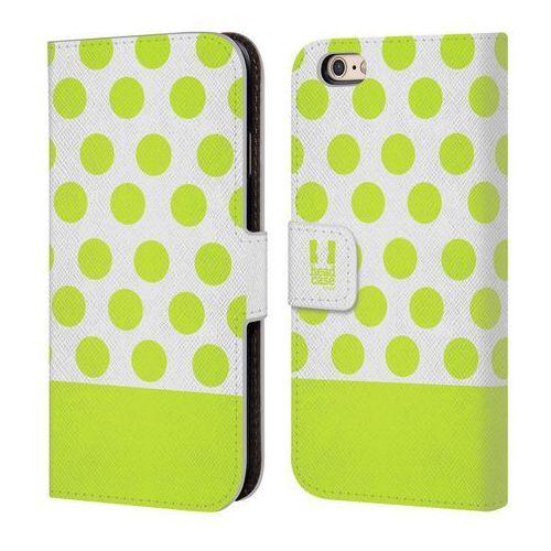Etui portfel na telefon - Nail Art Lime And White Dots, kolor biały