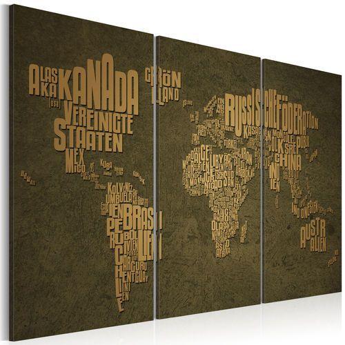 Obraz - Mapa świata, język niemiecki: beżowe kontynenty - tryptyk bogata chata
