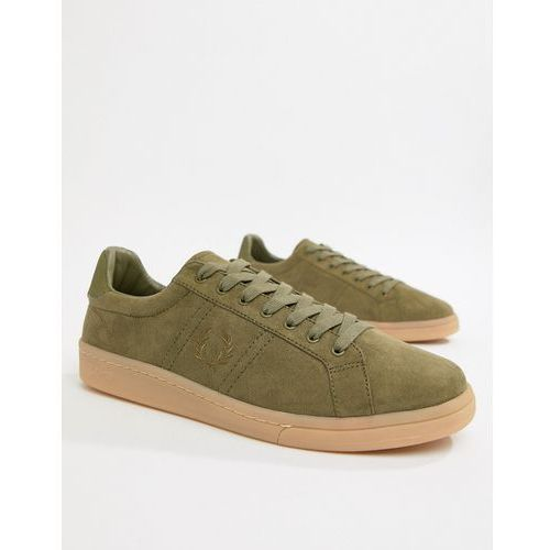 Fred perry microfibre suedette trainers in khaki - green