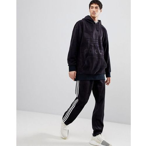 adidas Originals adicolor Velour Hoodie In Oversized Fit In Black CY3549 - Black