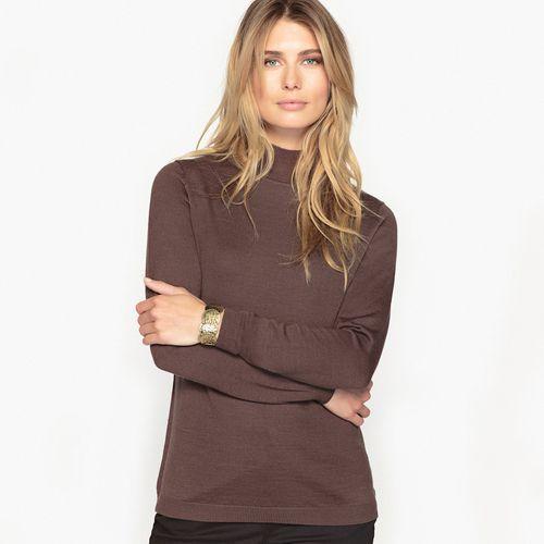 Sweter z golfem, 50% wełny merynosowej, kolor CZARNY