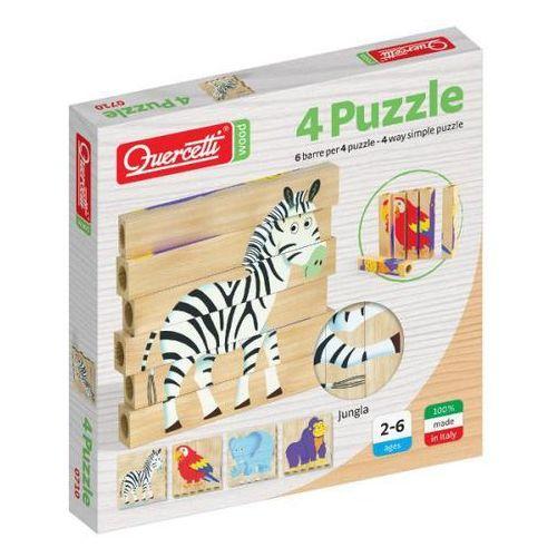Quercetti Drewniane klocki puzzle jungle 6 elementów - (8007905007105)