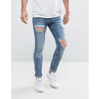 New look skinny jeans with open rips in blue - blue