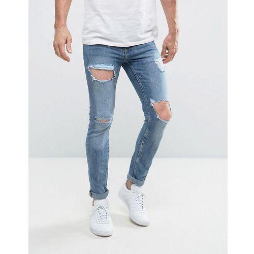 New Look Skinny Jeans With Open Rips In Blue - Blue, kolor niebieski