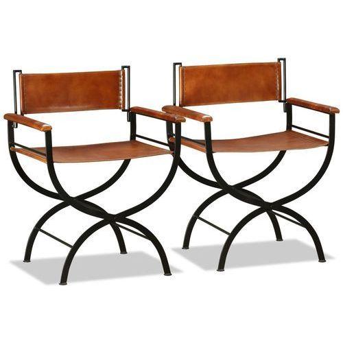 krzesło składane, 2 szt, skóra naturalna, czarno-brązowe marki Vidaxl