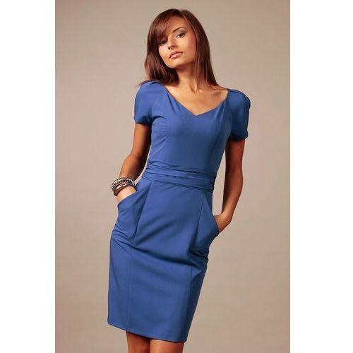 Chabrowa Wizytowa Sukienka z Dekoltem w Szpic z Krótkim Rękawkiem, kolor niebieski