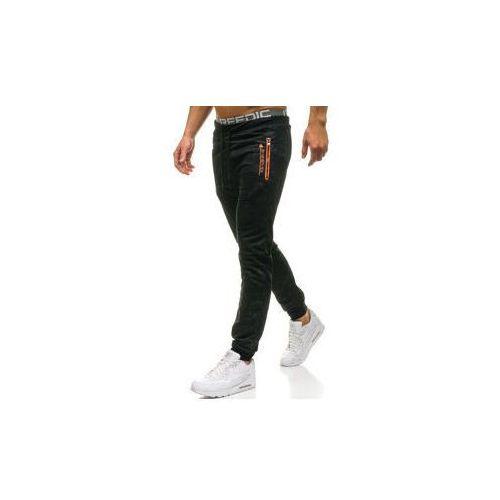 Spodnie męskie dresowe joggery czarne Denley W1333, kolor czarny