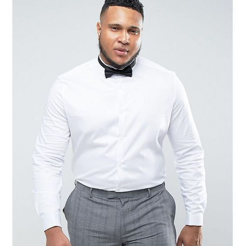 plus wedding slim fit sateen shirt with double cuff and wing collar - white marki Asos