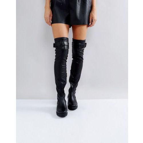 buckle trim stretch over knee boots - black, Truffle collection