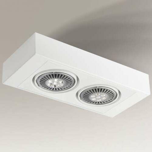 Spot lampa sufitowa koga h 1226/g53/bi regulowana oprawa prostokątna listwa metalowa biała marki Shilo