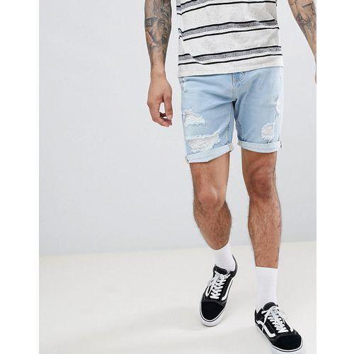 slim fit denim shorts in light blue - blue marki Pull&bear