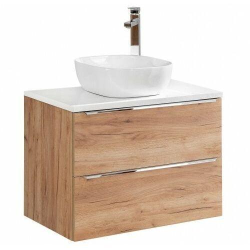 Comad szafka capri oak 80 2s dąb craft złoty pod umywalkę nablatową + blat 80 biały połysk capri oak 821 + capri white 891