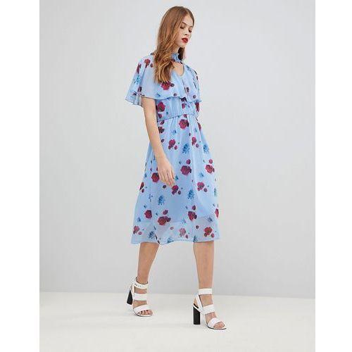 Y.a.s poppy print woven midi dress in blue - multi