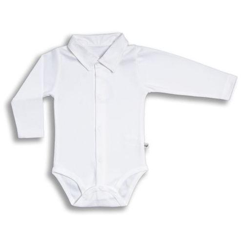 Nanaf organic Organiczne body polo rozpinane (długi rękaw), elegant boy / białe,