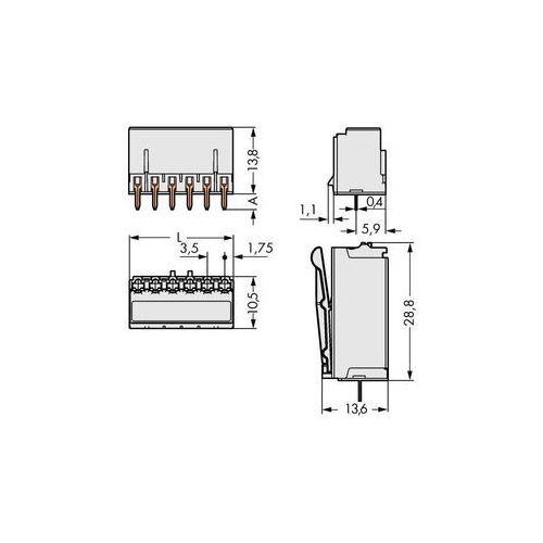 Wago Obudowa męska na pcb  2091-1304, ilośc pinów 4, raster: 3.50 mm, 200 szt. (4050821160847)