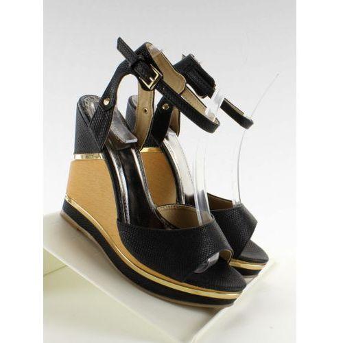 Eleganckie sandałki na wysokim koturnie 1018-N Black, kolor czarny
