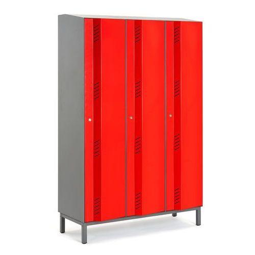 Szafa ubraniowa CREATE ENERGY, na nóżkach, 3 moduły, 1985x900x500 mm, czerwony, 561331