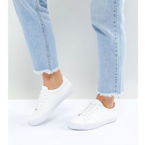 devlin wide fit lace up trainers - white, Asos