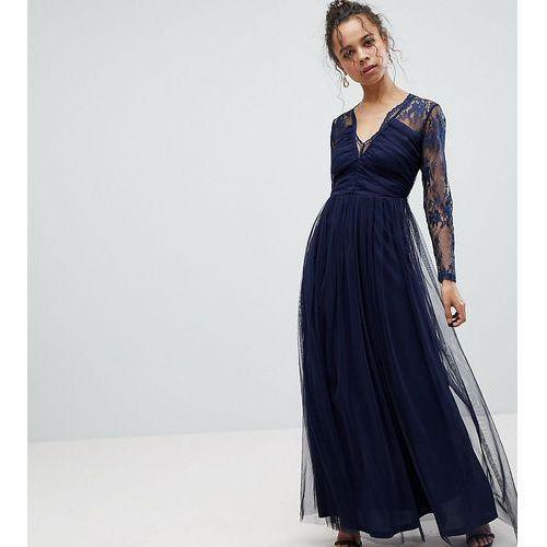 ASOS PETITE Lace Maxi Dress with Long Sleeves - Navy, kolor niebieski