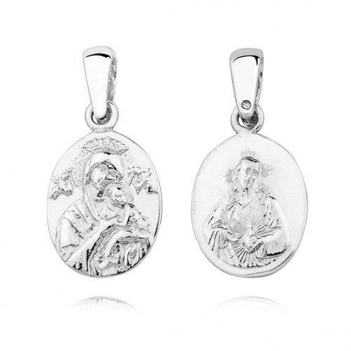 Srebrny (pr.925) medalik diamentowany Matka Boska Nieustającej pomocy / Serce Jezusa - dwustronny, KS0188C