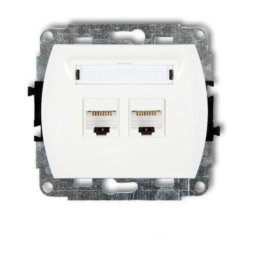 Trend gk-2 mechanizm gniazda komputerowego podwójnego 2xrj45 kat. 5e biały marki Karlik