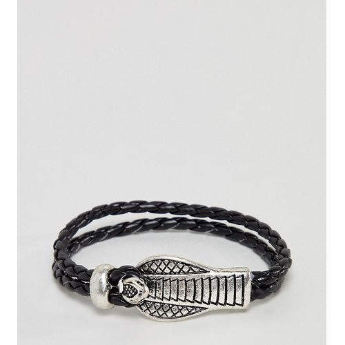 Sacred hawk leather bracelet with snake clasp - black