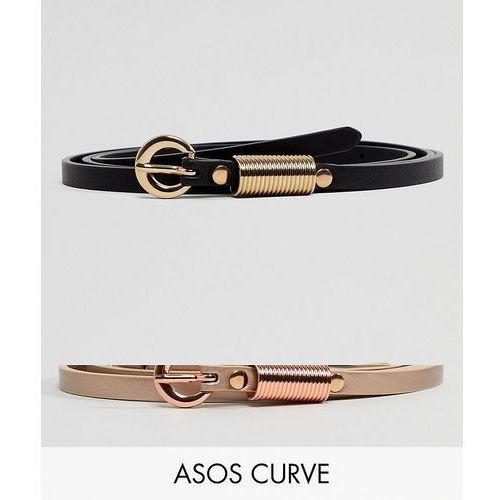 Asos curve Asos design curve 2 pack waist & hip jeans belts with rose gold buckle detail - multi