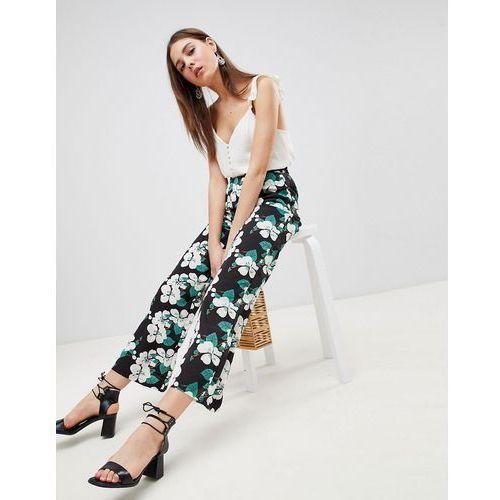 Brave Soul wide leg floral trousers - Black, kolor czarny