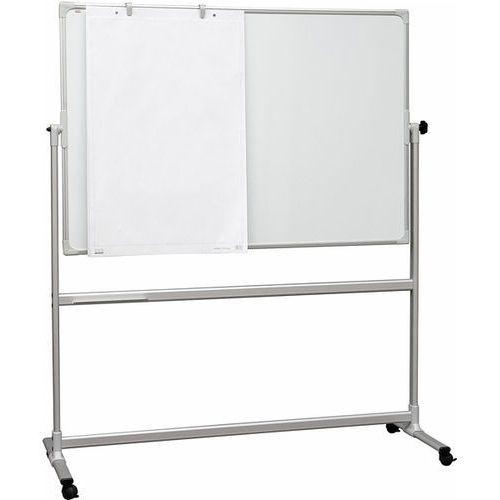 Tablica biała obrotowo-jezdna 120x90 magnetyczna, suchościeralna, ceramiczna marki 2x3